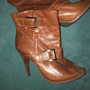 Leather Peep Toe Booties NWOT